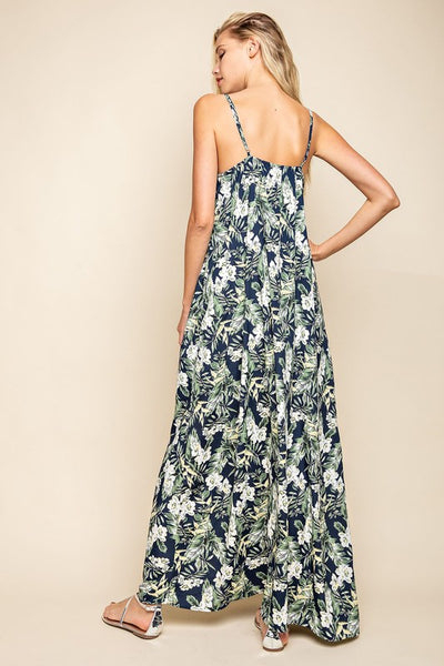 Out to Brunch Leaf Pattern Cami Maxi Dress