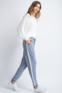 All the Snuggles Heather Blue Lace Trimmed Sweatpants