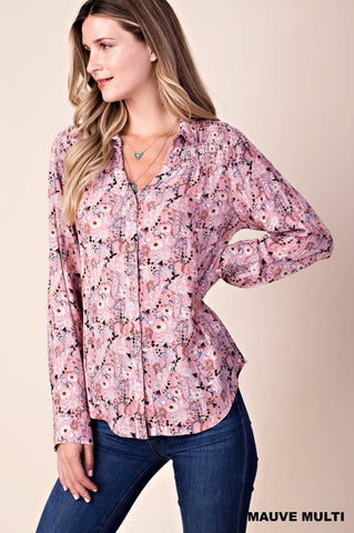 Floral Haze Smocked Button Down Shirt