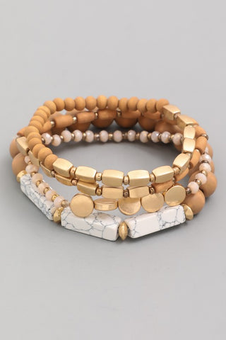 Wood and Marble Stretch Bracelet Set