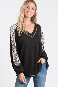 Midnight Rendezvous Contrast Sleeve Top