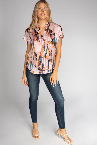 Pink Compass Geo Print Blouse
