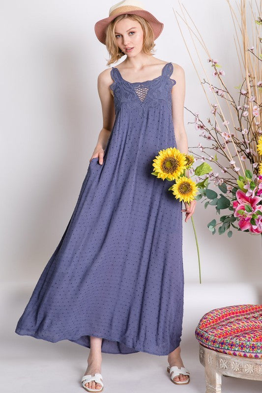 Lace Detailed Cami Maxi Dress- 2 Colors