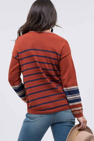 The Casey Striped Button Knit Sweater- 2 Colors!