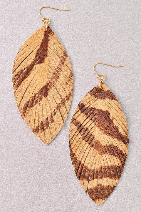 Beige Textured Leaf Earrings