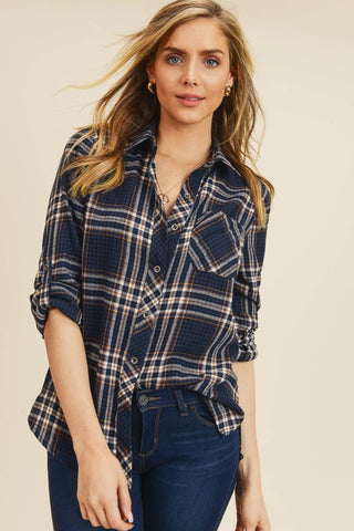 Perfectly Plaid Roll Tab Button Up Shirt in Navy