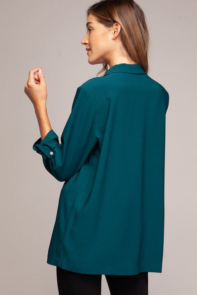 The Pearl Teal Open Front Blazer