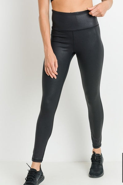 High Waist Mirco Scale Print Leggings- Black
