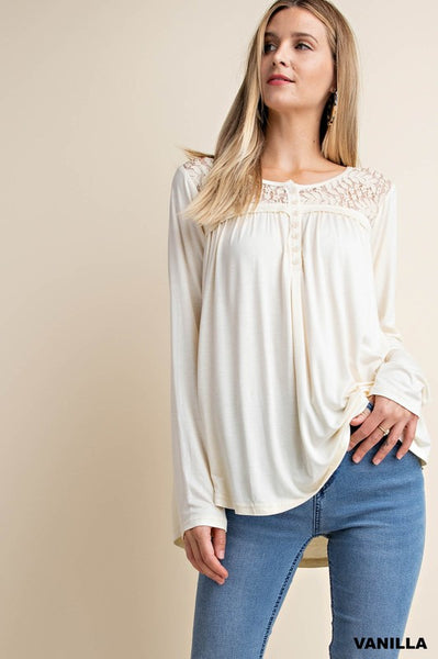 Ivory Lace Yoke Knit Top