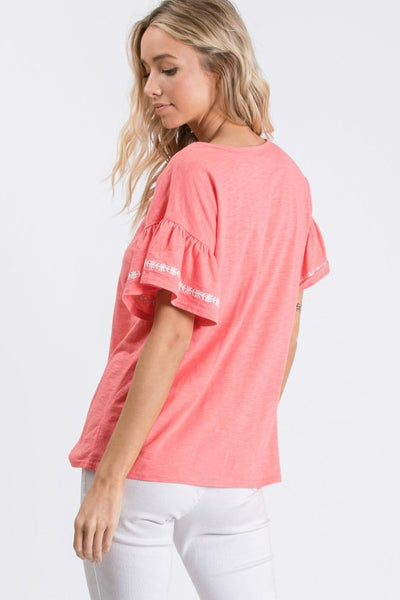 Coral & Cocktails Embroidered Ruffle Sleeve Top