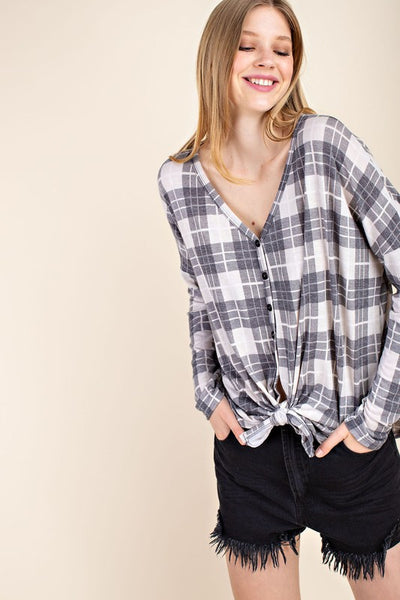 Make it Cozy Gray Plaid Knit Top