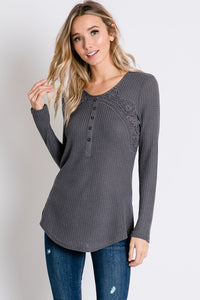 Today is the Day Lace Ribbed Henley Top- Charcoal