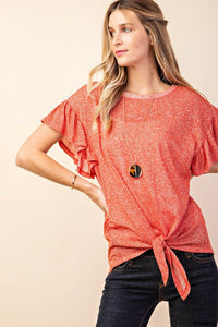 You Say Tomato Ruffle Sleeve Knit Top