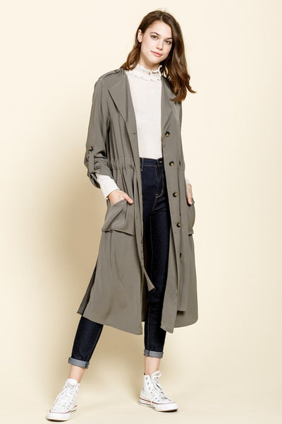 Afternoon Delights Olive Trench Coat