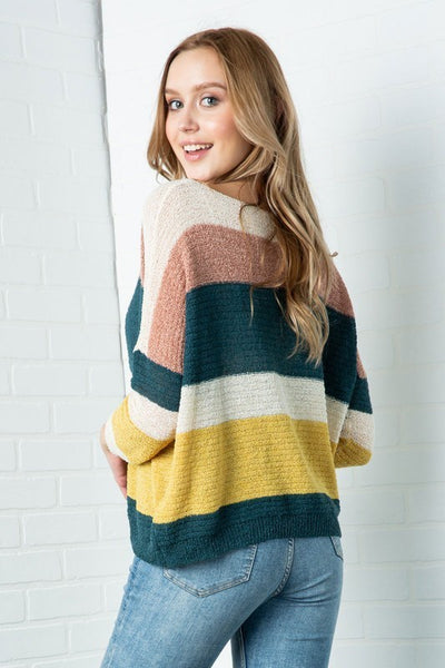 Hunter Green Color Block Pullover Sweater