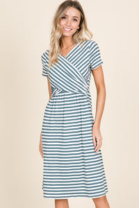 Wrap Front Midi Knit Dress- Denim Stripes