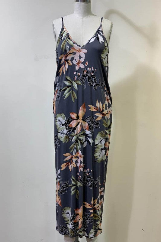 Azalea Floral Sac Dress- Gray