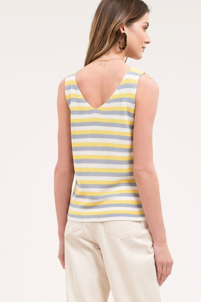 Lemonade Stand Knitted Striped Tank