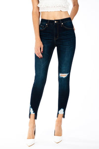 The Chloe High Rise Hem Detail Ankle Skinny Jean