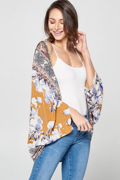Mixed Fabric Short Sleeve Kimono in Navy/ Coral