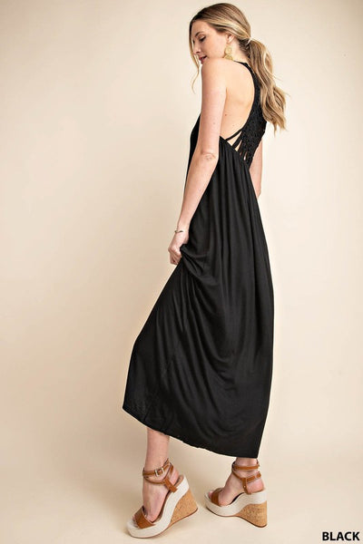 Crochet Back Knit Maxi Dress in Black
