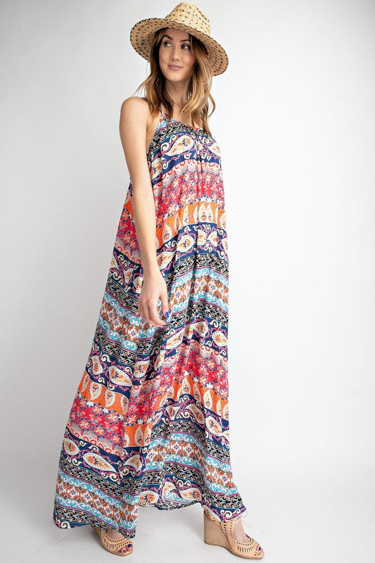 The Coraline Tribal Print Sac Dress- Blue/Coral