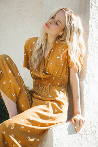 Afternoon Daises Mustard Jumpsuit