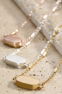 Rose Gold Oval Charm Necklace