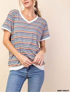 Not Your Boyfriend's Striped V-Neck Top