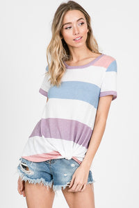 Perfect Periwinkle Stripe Knotted Top