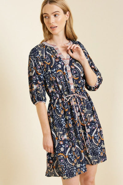 Pretty in Paisley Drawstring Dress