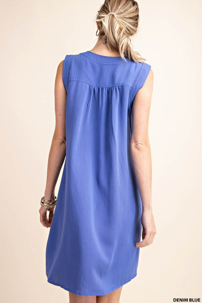 Maybe I Will Denim Blue Pleat Front Dress
