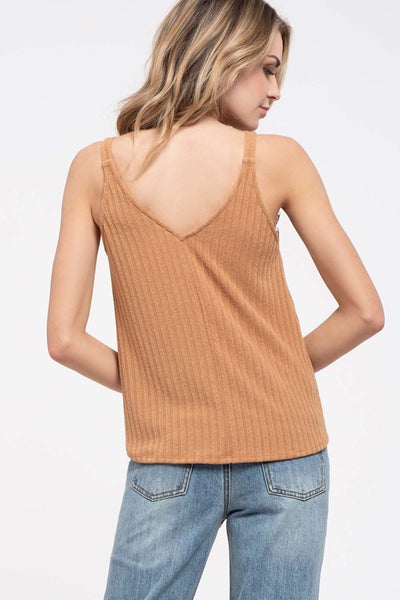 Lace Ribbed Knit Camisole Top- 3 Colors!