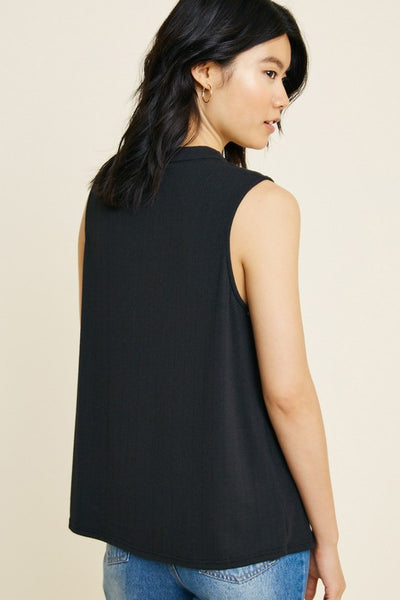 Night Out Black Ribbed Twist Tank