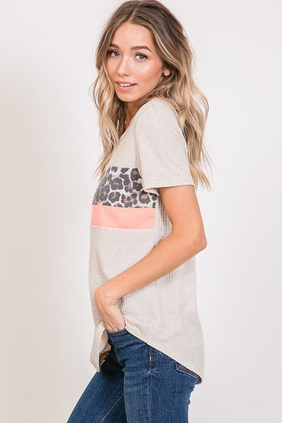 Oatmeal and Leopard Print Detail Top