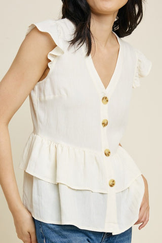 Irish Cream Button Down Peplum Top