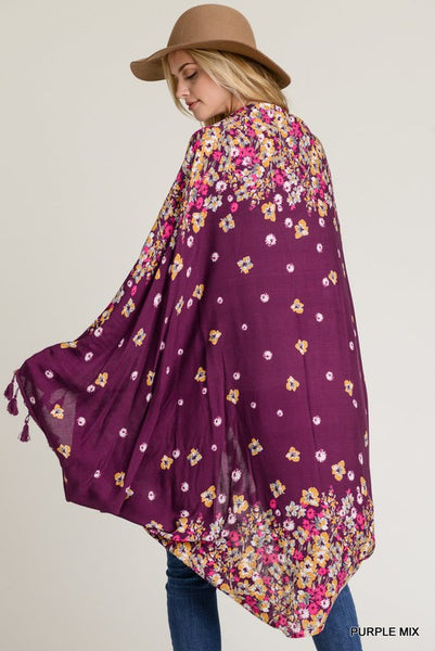 The Bramble Plum Floral Batwing Cardigan