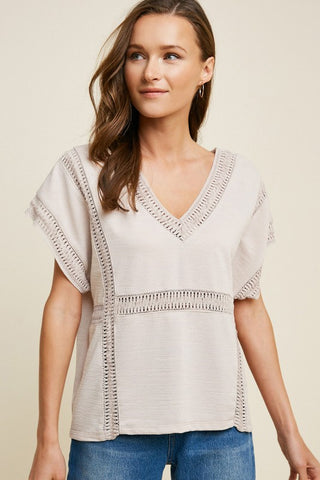 PRE-ORDER ONLY!!! Modern Mom Crochet V Neck Top