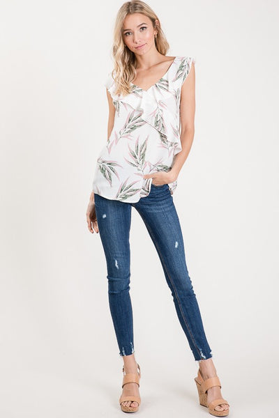 Say It Sweetly Tropical Ruffle Top