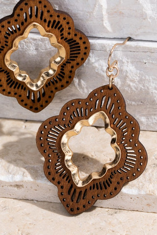 Moroccan Flower Wood Earrings