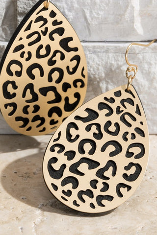 RESTOCKED!! Leopard Filigree Wood Teardrop Earrings- 2 Colors!