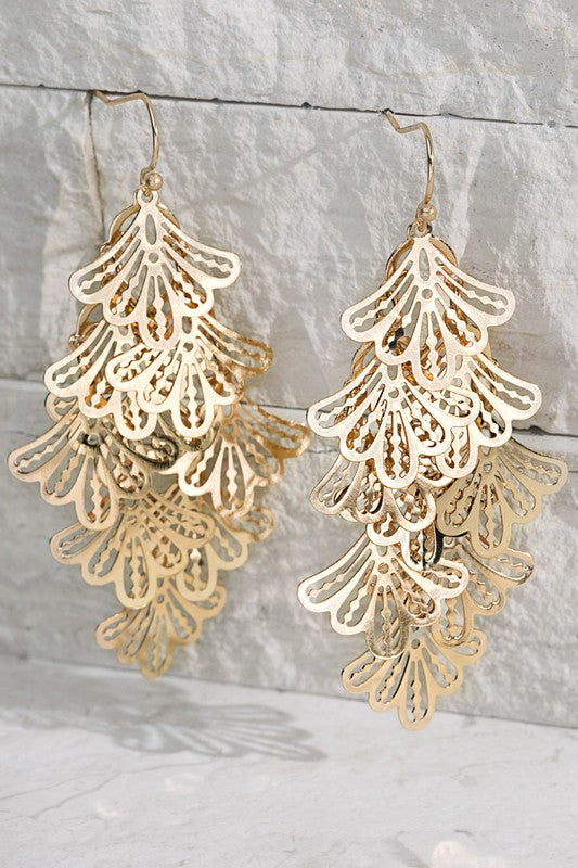 Cascading Filigree Flower Earrings