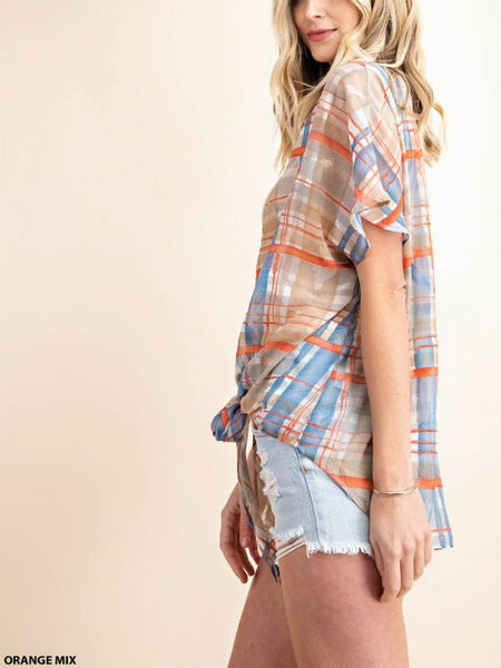 The Jackie Plaid Lightweight Cardigan Top