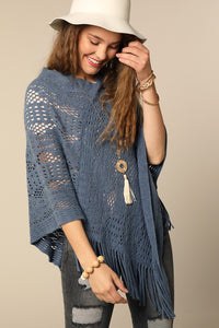 Fringe Knitted Poncho in Slate Blue