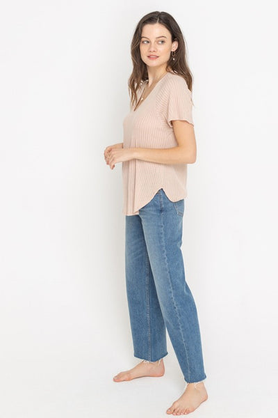 The Summer Essential Knit T-Shirt Top-Blush