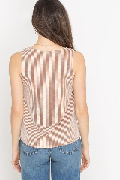 Seersucker Knit Button Front Tank