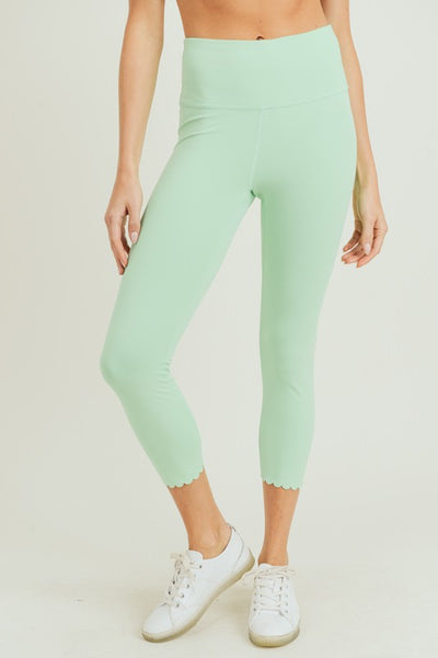 Matcha-Macha Mint Highwaist Scalloped Laser Cut Leggings