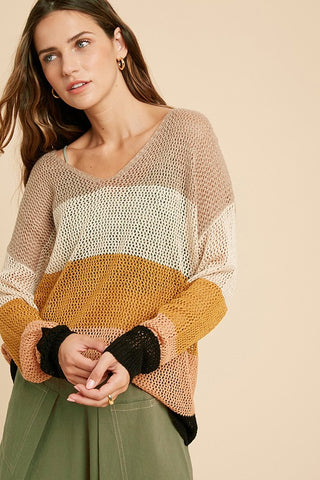 By the Fire Color Block Oversize Sweater