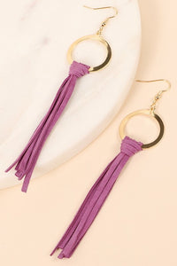Genuine Suede Leather Tassel Earrings