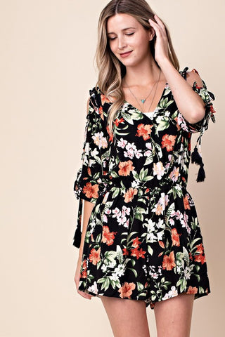 Cancun Beaches Black Floral Romper